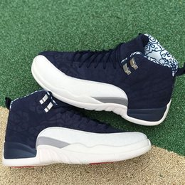 2018 International Flight 12s 12 Basketball Shoes BV8016-445 College Navy Men Sports Sneakers Size 7-13 Free Shipping with BOX