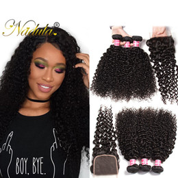 Nadula Kinky Curly Hair 3Bundles With Closure Brazilian Remy Human Hair Weave Closure and Bundles Brazilian Virgin Hair Extensions Wholesale