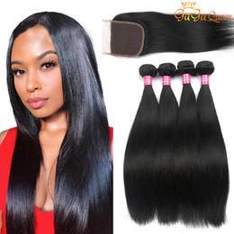 8A Peruvian Straight Human Hair Bundles with Closure Peruvian Virgin Hair With 4x4 Lace Closure Peruvian Malaysian Indian Hair Bundles