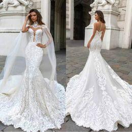 Luxury 2018 Mermaid Wedding Dresses Beading Sleeveless Long Court Train Lace Applique Wedding Dress Bridal Gowns BA9313
