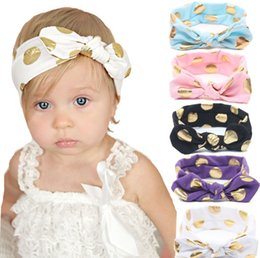 10PCS Baby Girls Gold Polka Dots Cotton Headband Children Knotted Bow Head Wraps Summer Hair Bands Kids Photography Props Hair Accessories