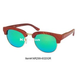high quality green polarized lens gold metal red rose wood frame sunglasses
