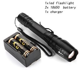 wholesale 1800Lm Tactical Zoomable XM-L T6 LED 18650 Flashlight Torch Zoom Lamp Light with 2pcs 18650 battery Charger sets