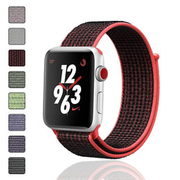 Woven Nylon Sport Loop Bracelet Watch Strap Replacement Band For Apple Watch Series 4 1 2 3 iwatch 4 38mm 42mm 40mm 44mm 100pcs lot