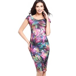 The 2018 summer women's Fashion Square Collar sexy slim waisted short sleeved feather printing package hip dress pencil skirt