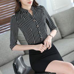 Elegant Office Lady Black &White Stripe shirt,Black shirt Women Work Wear OL Half Sleeve shirt Free shipping