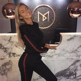 Women Stripe Ribbon Green Red Hoodie Autumn 2018 Black Plus Size XXXL Sweatsuits Casual Two Piece Tracksuits 2 Piece Set Tops and Pants