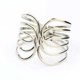 Free Shipping Fashionable hollow woman 100 open adjustable bracelet metal silver elastic bracelet European jewelry spot wholesale