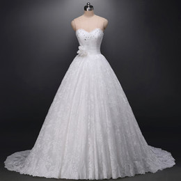 Gorgeous A-line Lace Wedding Dress Sweetheart Sleeveless Crystals Ruched Waist Handmade Lower Lace-up Back Bridal Gowns Sweep Train