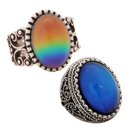 2 PCS Cool Big Mood Stone Rings Factory Sale Magic Color Change Glass Stone Alloy Ring RS003-RS029