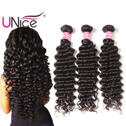 UNice Hair Deep Wave 5 Bundles Peruvian Unprocessed Remy 100% Human Hair Extensions Wholesale Nice Curl Hair Weave Bundles 12-26 inch