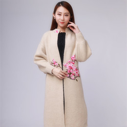 K83701 New Women's long Embroidery knitting cardigan Puff sleeve Soft and Comfortable Lady's Sweater Coat In stock Drop shipping