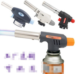 BBQ Blowtorch Cooking Lighters Soldering Butane Gas Torch Flame Auto Ignition Blow Jet Lighter Welding Burning Heating Kitchen Tool 3 Styles