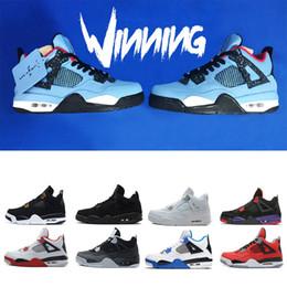 Men Basketball Shoes Travis Houston blue 4 Raptors 4s Pure Money Black Cat white cement Bred Fire red Fear Alternate sports sneakers 41-47