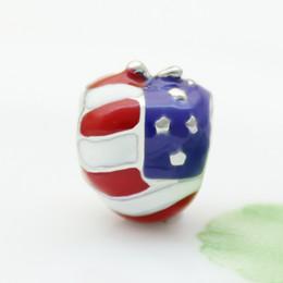 Stars stripes America Usa Flag Heart Love national European spacer bead metal charm bracelets Pandora Chamilia Compatible