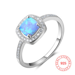 unique jewelery latest ring designs for girls 925 Sterling silver with blue synthetic opal ring jewelry engagement rings China wholesale