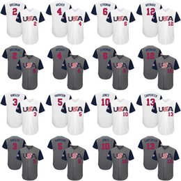 Men's youth women USA #2 Alex Bregman 3 Ian Kinsler 4 Chris Archer 6 Marcus Stroman 5 Josh Harrison Gray 2017 World Baseball Classic jersey