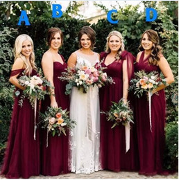 2019 Beach Burgundy Tulle Long Country Bridesmaid Dresses Off-Shoulder Pleats Summer Garden Wedding Party Guest Junior Gowns BA7548