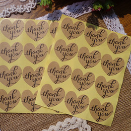1200PCS set heart thank you kraft brown paper package gift self adhesive sticker label for box or bags seal
