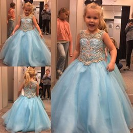 2019 Newest Free Shipping Light Sky Blue Girls Pageant Dresses A Line Crystals Beaded Kids Formal Wear Gowns Flower Girl Dress BA7586