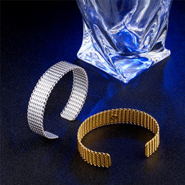 925 Jewelry Silver Bangle & Bracelet Knitted Rattan Mesh Wide Circle Open Love Cuff Bangles For Girls Women