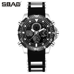 SBAO Double Display Wristwatches Men Sports Watches Digital Watch LED Electronic Watwrproof Double Time Watch S-9011