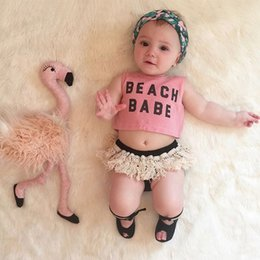 Infant Toddlers Baby Girl Clothes Cotton Letter Vest Tops T-shirt Tassel Shorts Casual 2pcs Summer Outfits