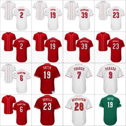 Custom name men baseball jerseys 19 Joey Votto 2 Zack Cozart Adam Duvall 6 Billy Hamilton 4 Scooter Gennett 39 Mesoraco stitched