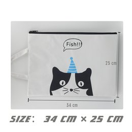 Zipper Pouch A4 Zipper Bags 3 PCS Zippered Pouch Storage Bags Cat Zipper Document Folder Larger Water-resistant Storage Bags Travel Document