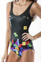 Summer New Tetris Digital Printing Triangle Conjoined Swimsuit One Piece Women Bikini Mujer Brakini Swimwear Suits Wholesale