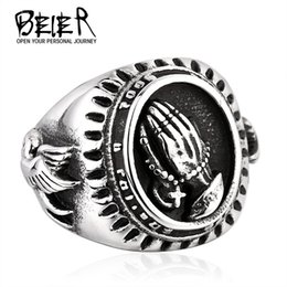New Men's Stainless Steel Mary Praying Hands Ring Christianity European and American Fashion 316L Titanium Steel Rings Jewelry Gift