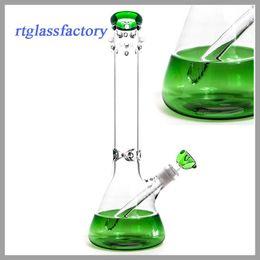 """New design Beaker bong fantastic design Green beaker base water pipe ice catcher 14-18mm downstem tall 15"""""""