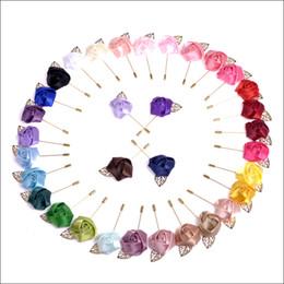 Flower Lapel Pins Men Floral Men Brooch Handmade Rose Corsage Pin Men's Suit Accessories 33 colors availab 100 pieces  lot
