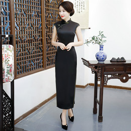 Shanghai Story Long Qipao Chinese Dress Sexy Back Black Solid Cheongsam Chinese Traditional dress Chinese Woman's Clothing