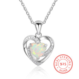 NE101927 synthetic opal real 925 sterling silver heart pendant necklace best gift for birthday low prices halloween present wholesale