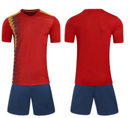 Free Shipping!18 World Cup Spain Home soccer jerser Court Fan Edition Serve Short Sleeve Strips Jersey Thai Version Quality
