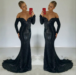 Navy Blue Sequined Prom Dresses 2018 Long Sleeve Mermaid Sexy Celebrity Gowns Pageant Gowns Evening Dress