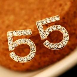 NEW Style Number Shape Earrings for Women Fashion Jewelry Full of Crystal Stud Earrings Korean Small Earrings