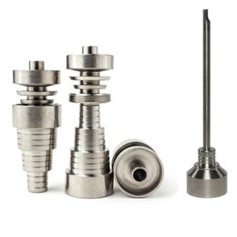 Top quality 6 in 1 Adjustable domeless GR2 dab nail Male Female Titanium nails carb cap for oil rigs glass water pipe bong