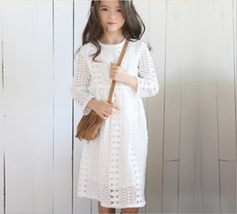 Kids Girl crochet lace hollow Dresses kids spring summer Dark blue white long sleeve lace princess party dress,children Kids Clothes dress
