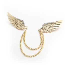 Hot Rhinestone Angel Wing Tassel Chain Shirt Collar Pin Neck Tip Brooch Pin Chain Punk