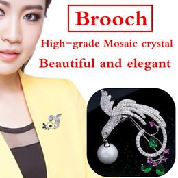 45 * 65 mm fashion high-end inlaid crystal pearl brooch wedding party brooch brooch jewelry