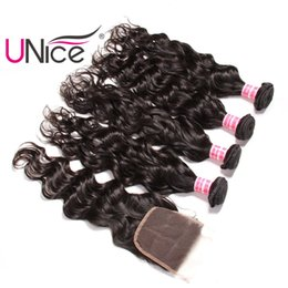 UNice Hair Virgin Brazilian Natural Wave Bundles With Lace Closure Free Part Human Hair Extensions Remy Hair Weave With Closures Unprocessed