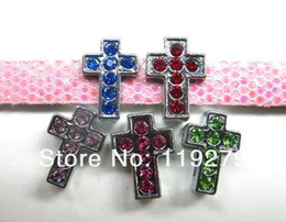 Rhinestone color Cross Internal Dia.8mm slide Charm fit 8mm Belt Pet Collar Wristband zinc alloy and colorful Rhinestone Stocked