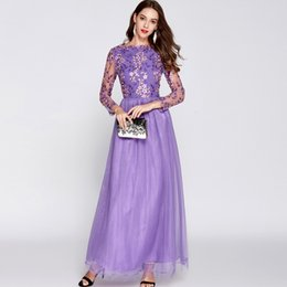 2018 Women's O Neck Long Sleeves Embroidery Fashion Party Prom Dresses Elegant Maxi Runway Dresses