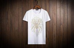2017 summer unique design beads hot drilling spider tops solid black short sleeve t shirt cotton o neck cloth men plus size