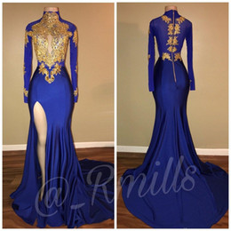 Vintage Long Sleeves Gold Appliques Mermaid Prom Dresses High Neck Side Split Sweep Train Arabic Formal Evening Gowns
