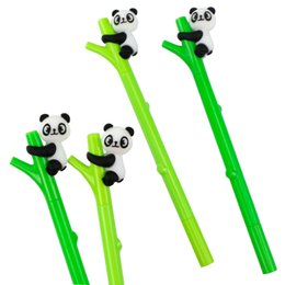 3Pcs panda gel pen Cute cartoon plastic 16.5cm Creative Bamboo Pen 0.5mm Black Pen school office supplies