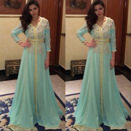Sage Long Sleeve Prom Dress Dubai Arabic Kaftan Beaded Shiny Crystal robe de soiree Prom Dresses Formal Evening Gowns