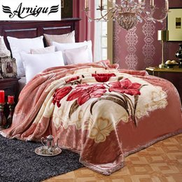 sheets comforters Promo Codes - ARNIGU Double Face thicken Raschel Blanket Twin Full Queen size Bedding Flower print warm Bed sheet soft Winter Throw Comforter